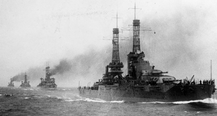U.S. battleships in British waters during World War I.
