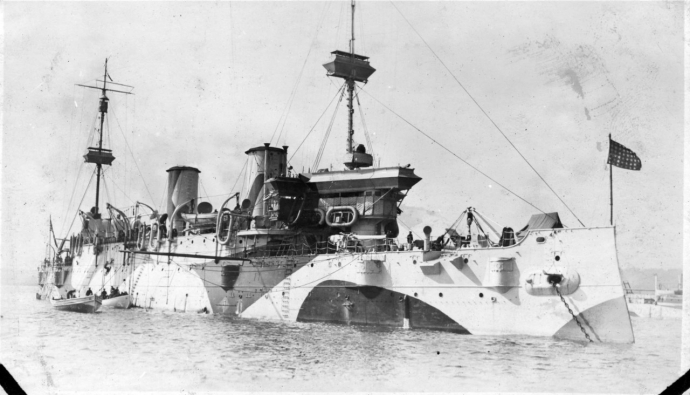 USS Minneapolis (C-13) in dazzle camouflage