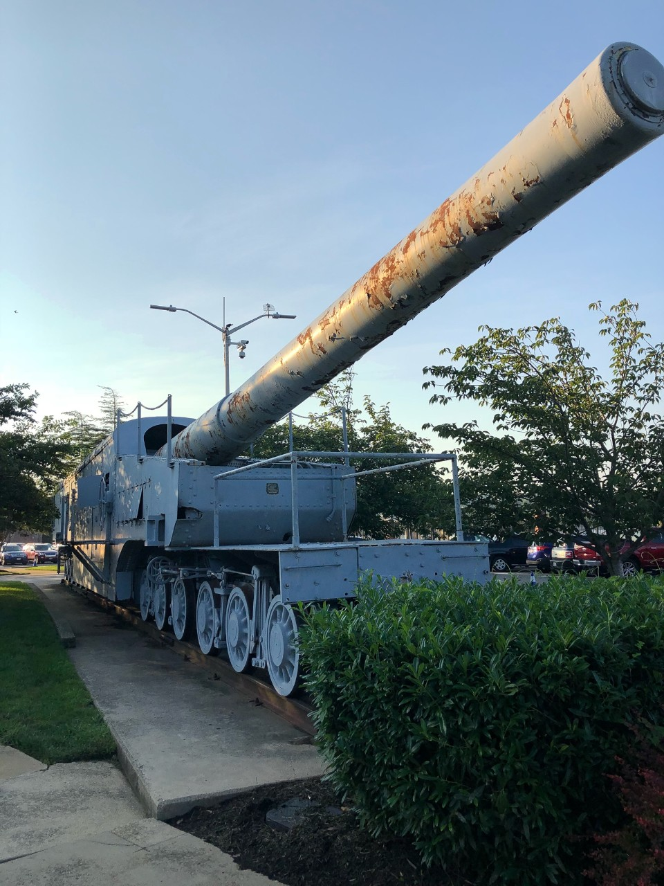 World War I-era 14-inch naval railway gun displayed in Willard Park, Washington Navy Yard.