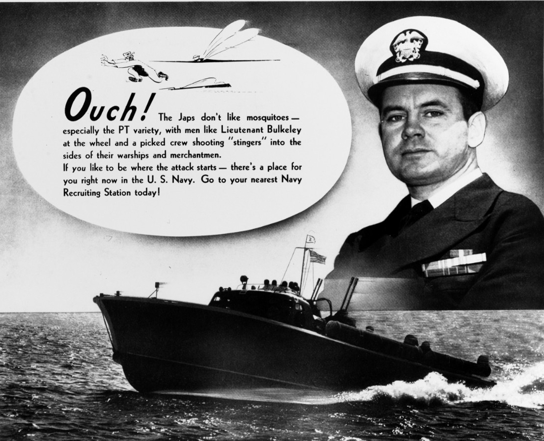 Photo #: NH 86429  Recruiting Poster featuring Motor Torpedo Boat (PT) commander Lieutenant John D. Bulkeley: