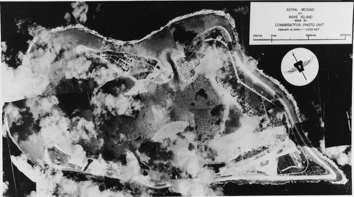 Aerial mosaic photo of Wake Island