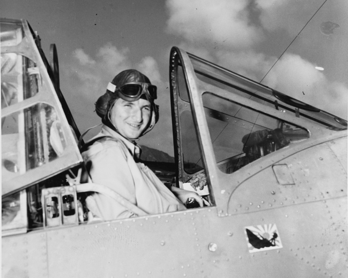 Photo #: 80-G-66074  Lieutenant Commander Lance E. Massey, USN, Commanding Officer, Torpedo Squadron Three (VT-3)