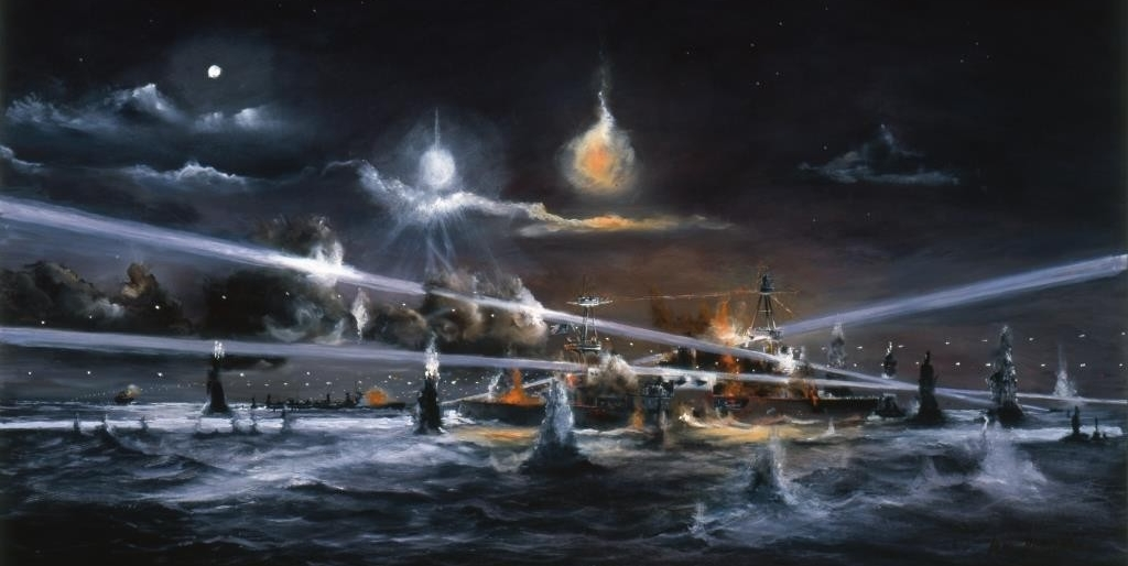 Painting of Houston during the Battle of Sunda Strait.