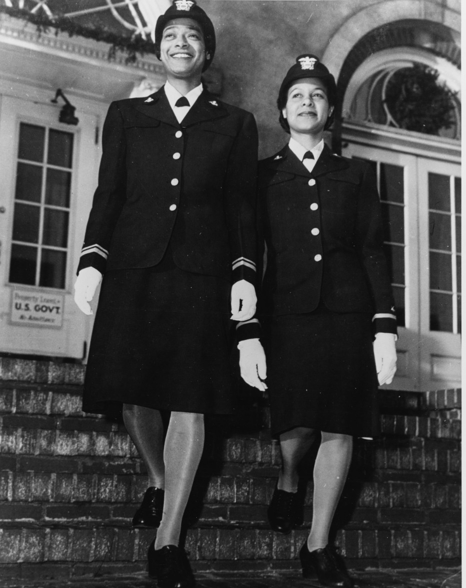 Lieutenant (Junior Grade) Harriet Ida Pickens (left) and Ensign Frances Wills photographed after graduation from the Naval Reserve Midshipmen's School (WR) at Northampton, Massachusetts, in December 1944. They were members of the school's final class, and were the Navy's first African-American WAVES officers. Official U.S. Navy Photograph, now in the collections of the National Archives.