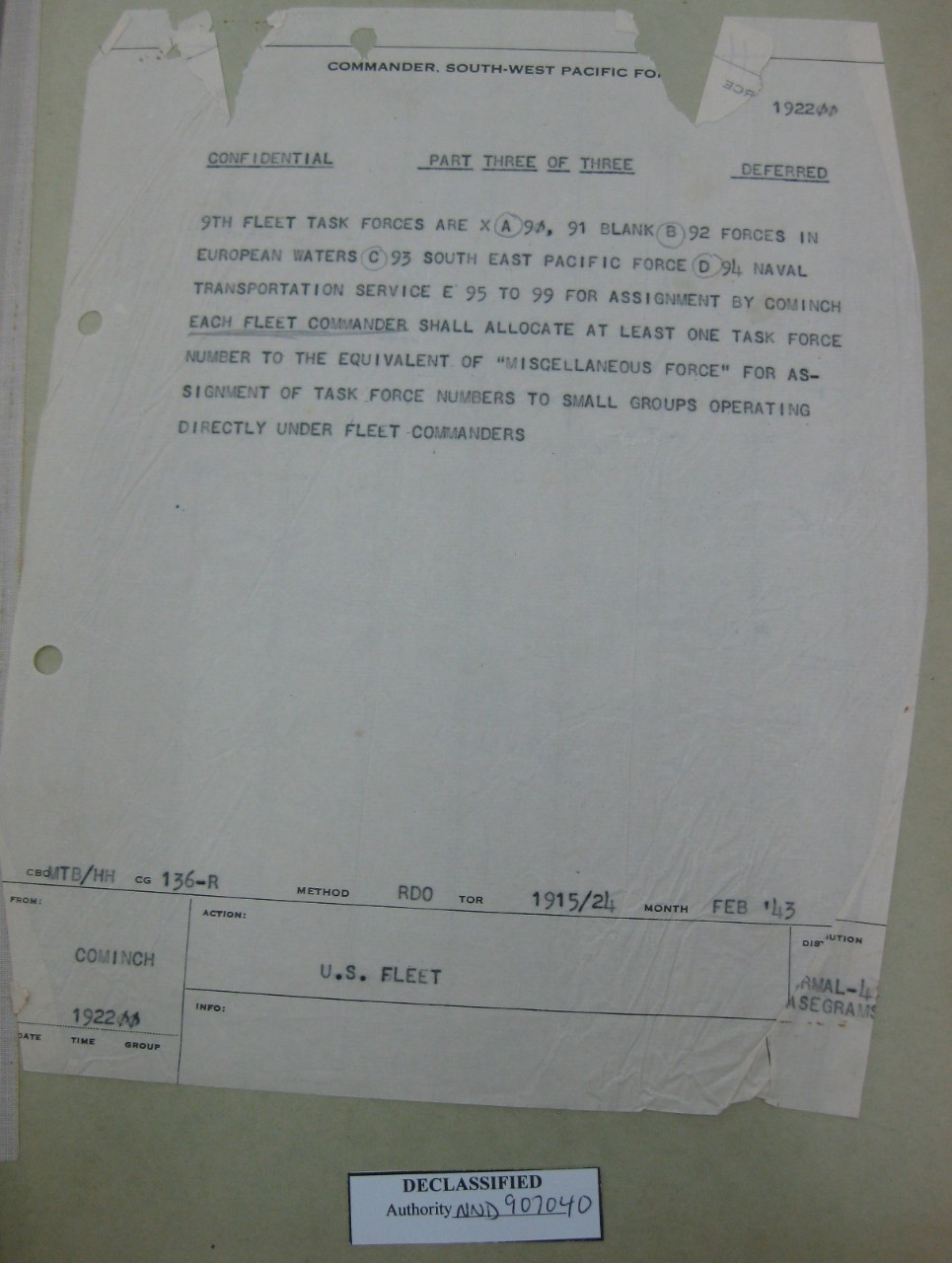 Part three of ADM King's 19 FEB 1943 message directing organization of numbered fleets.