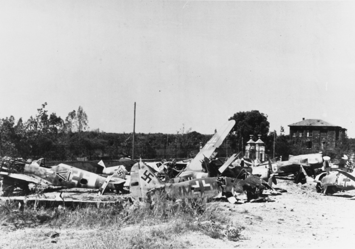 Wrecked German planes on Sicily, 13 July 1943