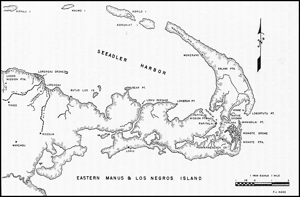 Map of Los Negros, Admiralty Islands