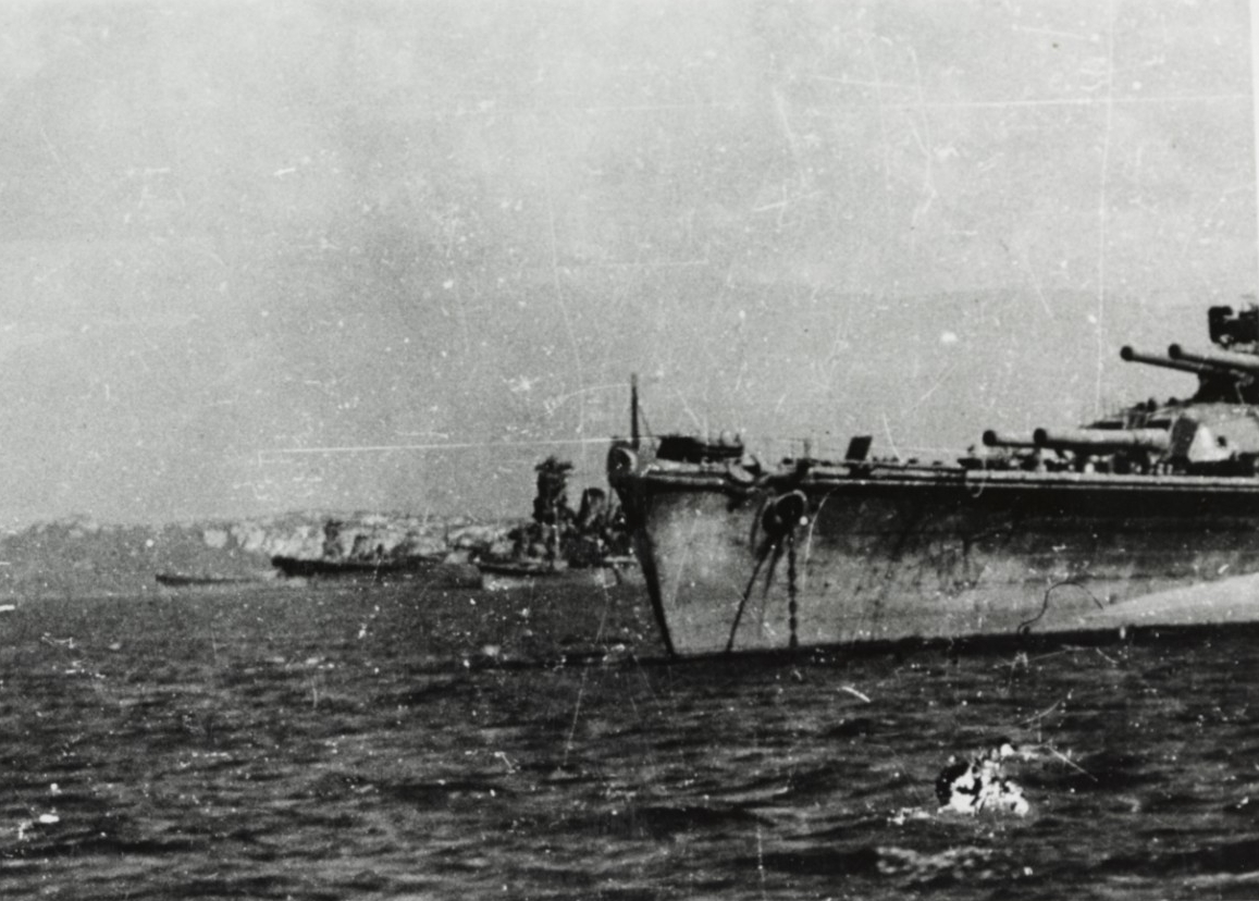 Photo #: NH 73090  Japanese Battleships at Brunei, Borneo, October 1944