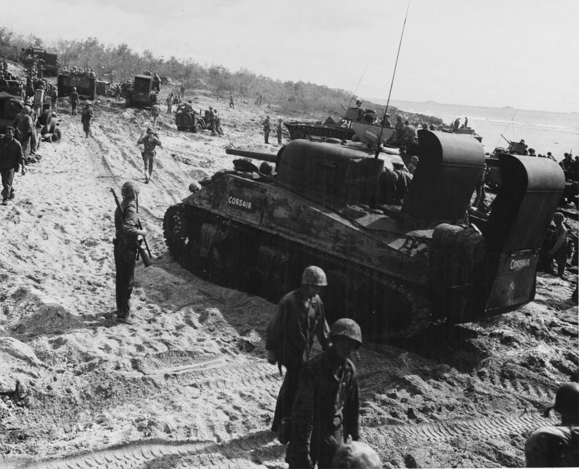 1944 Chaplain Holding Services WW2 Peleliu Photo