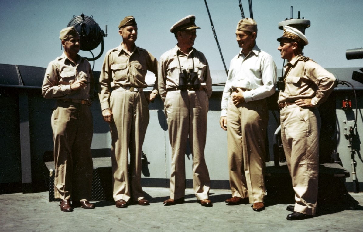 Senior Officers on the bridge of USS CATOCTIN (AGC-5)