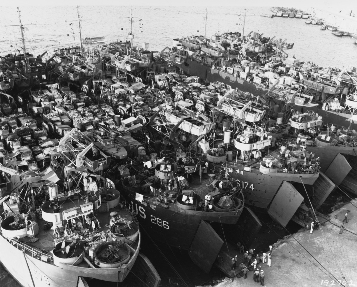 Southern France Invasion, August 1944. LSTs loading for the invasion, at Bagnoli, Italy, 8 August 1944.