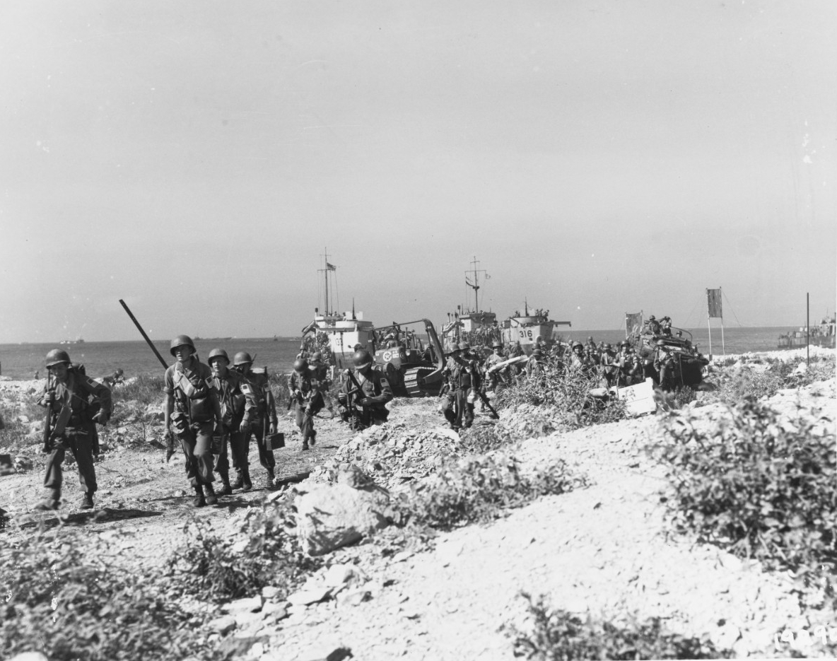 "Southern France Invasion, August 1944. U.S. troops come ashore on ""D-Day"""