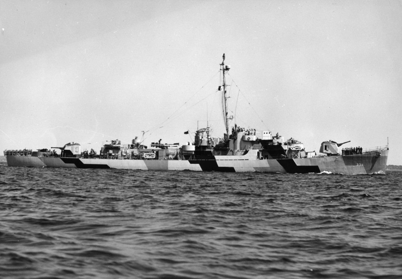 USS John C. Butler (DE-339) underway, possibly off Boston Navy Yard