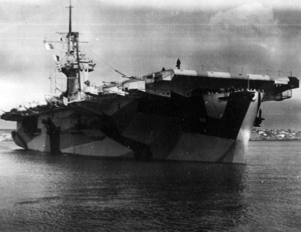 <p>The bow of USS St. Lo (CVE-63), formerly USS Midway. April 7, 1944.</p>