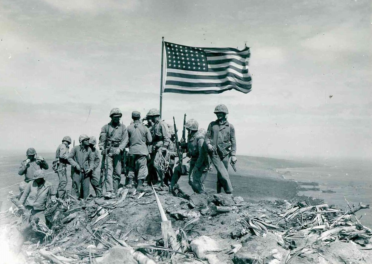Flag Raising on Mount Suribachi, Iwo Jima, Japan