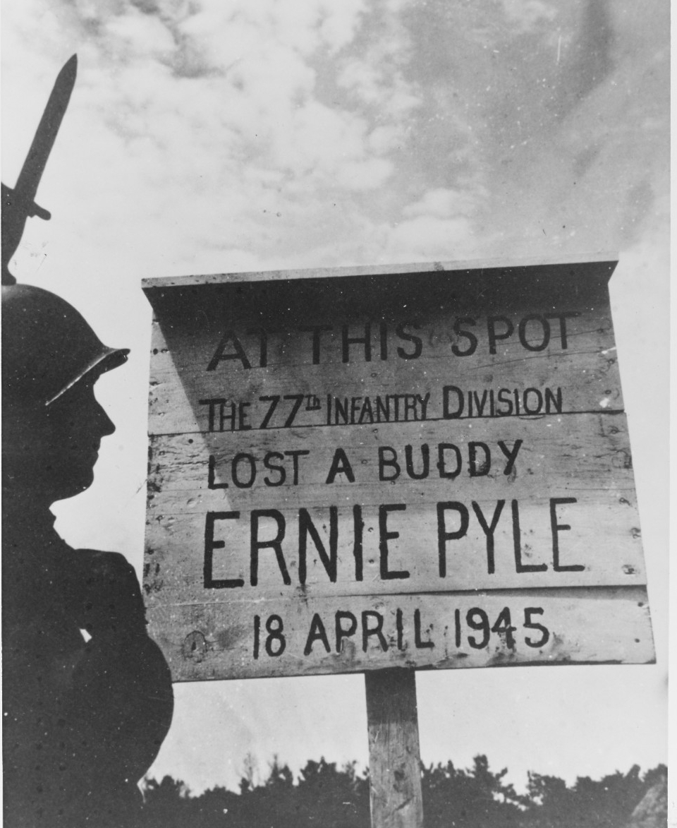 Marker at site of grave of war correspondent Ernie Pyle, on Ie Shima.