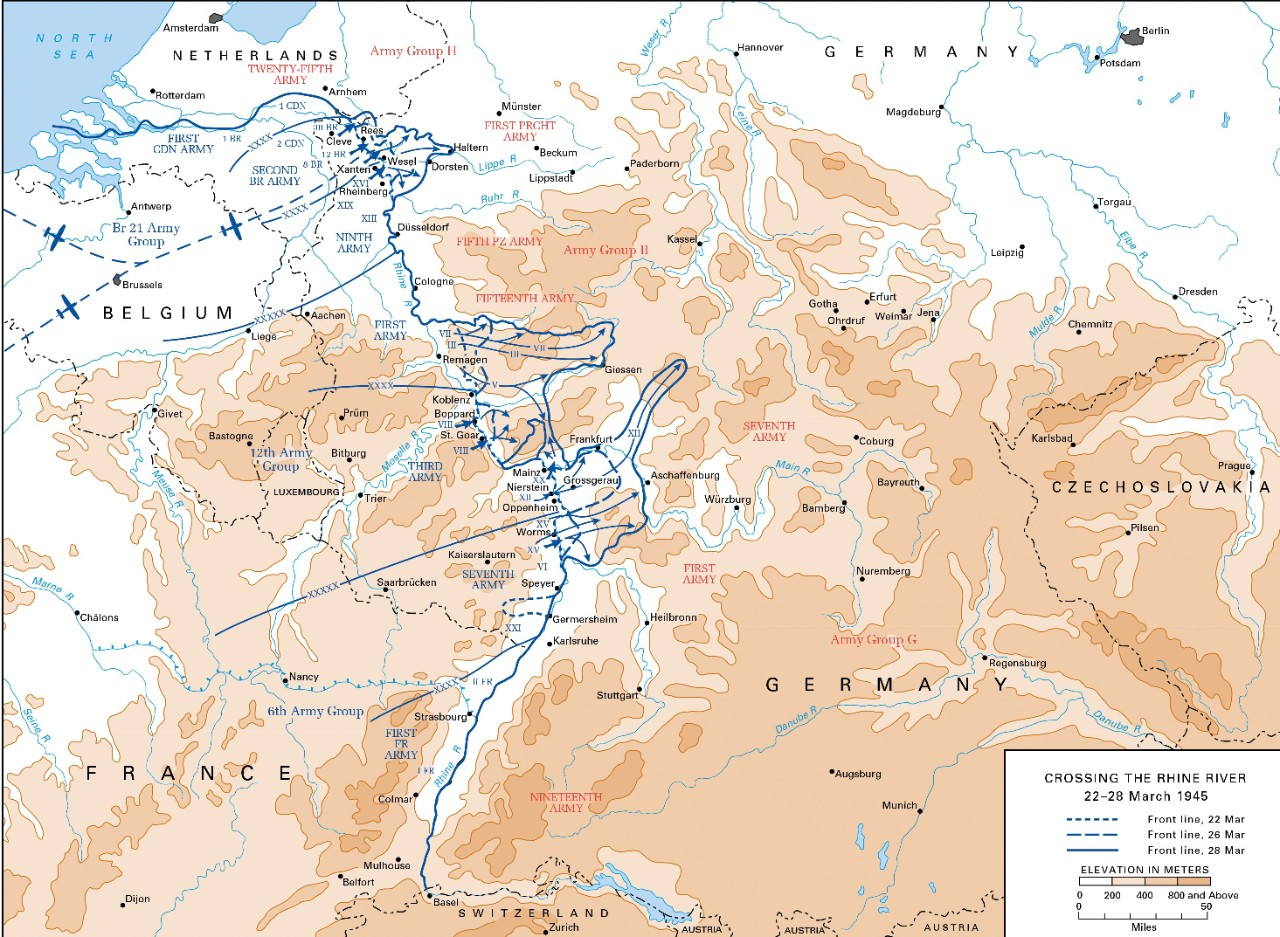 <p>Map of the Allied Rhine crossing operations, 22-28 March 1945.</p>