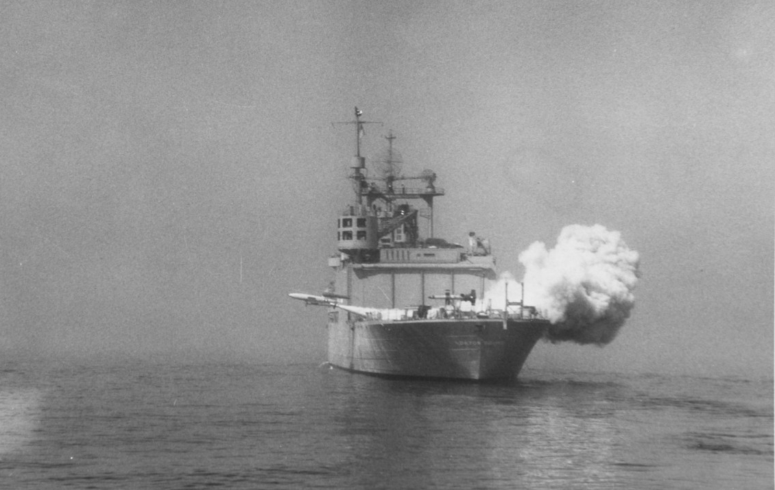 "USS NORTON SOUND (AV-11) launches a V-1 ""loon"" missile."