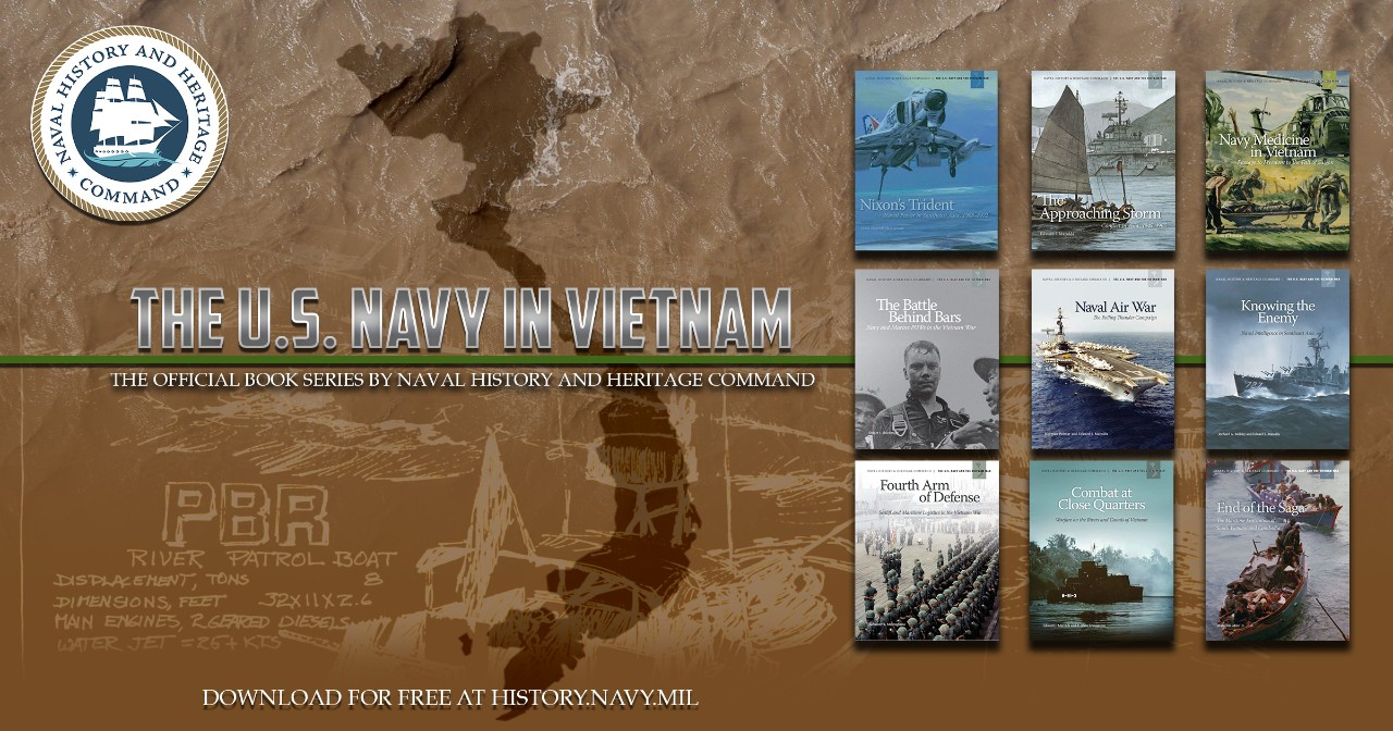 Graphic illustration with the map of Vietnam in the nine book covers from Naval History and Heritage Command's Vietnam War book series.