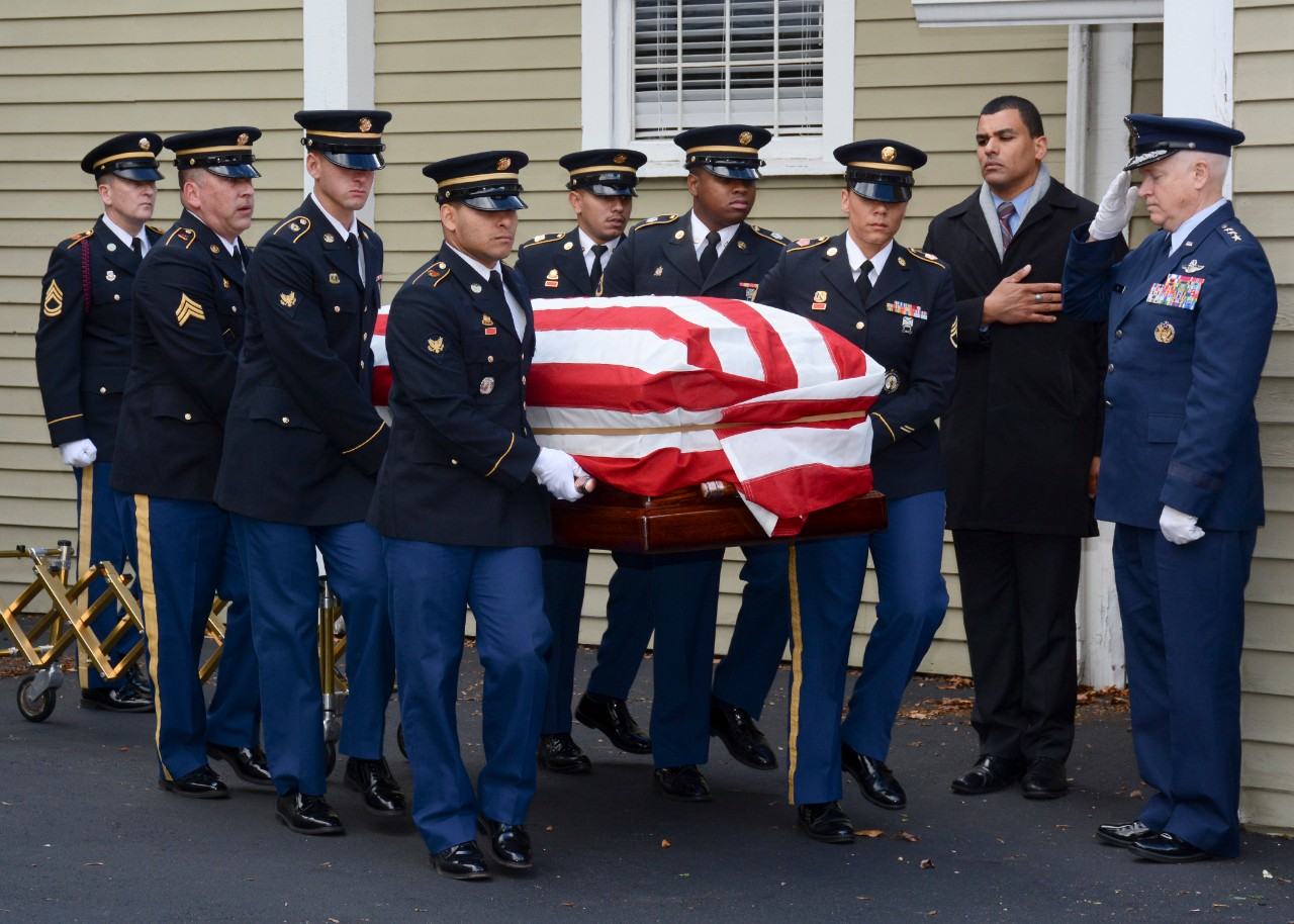 Concord, Mass. (Nov. 15, 2017) The Military Funeral Honors Team of the Massachusetts Army National Guard carries the casket of Medal of Honor recipient Capt. Thomas J. Hudner, Jr., during a funeral procession in Capt. Hudner's honor. Capt. Hudner, a naval aviator, received the Medal of Honor for his actions during the Battle of the Chosin Reservoir during the Korean War. (U.S. Navy photo by Mass Communication Specialist 3rd Class Casey Scoular/Released)