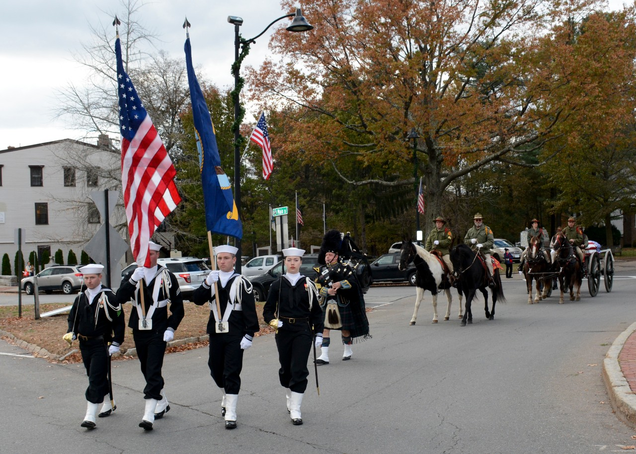 Concord, Mass. (Nov. 15, 2017) A USS Constitution color guard leads the funeral procession of Medal of Honor recipient Capt. Thomas J. Hudner, Jr. Capt. Hudner, a naval aviator, received the Medal of Honor for his actions during the Battle of the Chosin Reservoir during the Korean War. (U.S. Navy photo by Mass Communication Specialist 3rd Class Casey Scoular/Released)