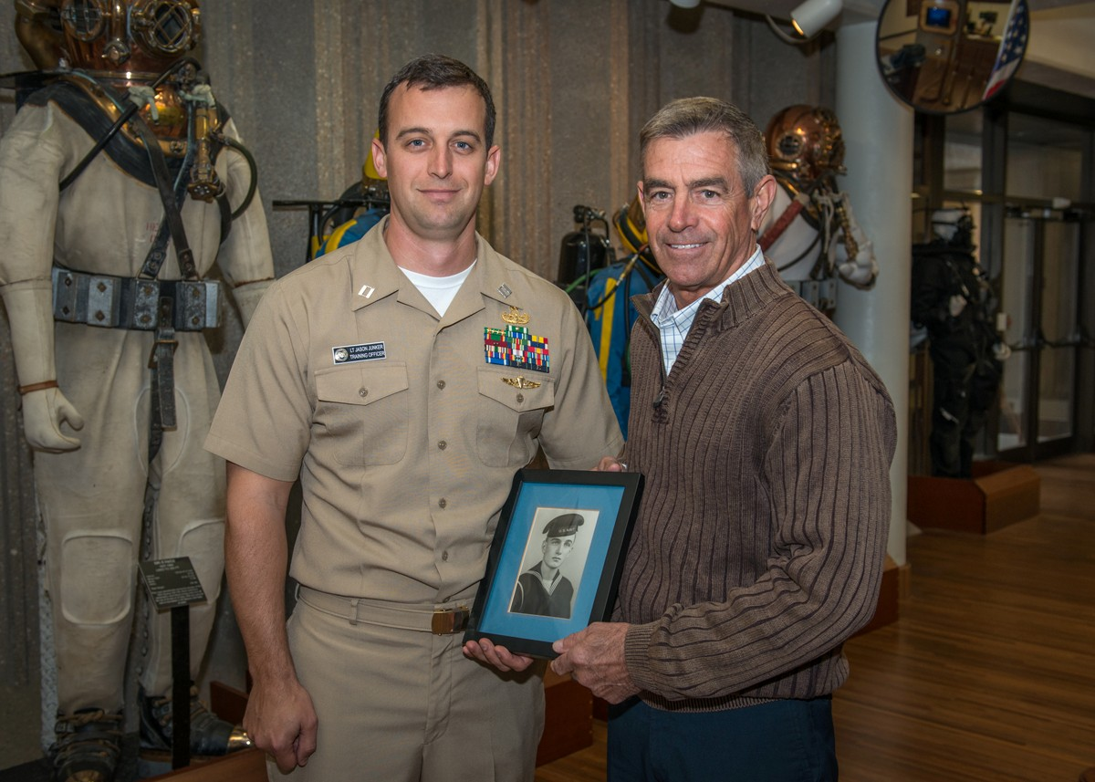 Naval Diving Salvage Training Center Training Officer Lt. Jason Junker, USN, stands with his father Dave Junker