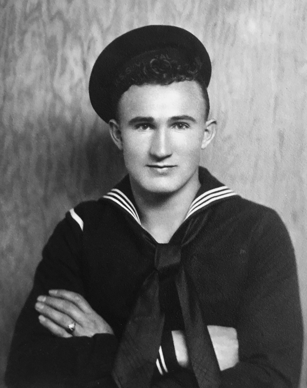 An undated photo of Chief Boatswain's Mate Joseph L. George from earlier in his career.  After enlisting in 1935, George was assigned to the repair ship USS Vestal which was moored alongside USS Arizona (BB 39) when the Japanese attack began on Dec. 7, 1941. (Photo Courtesy of George Family/Released)