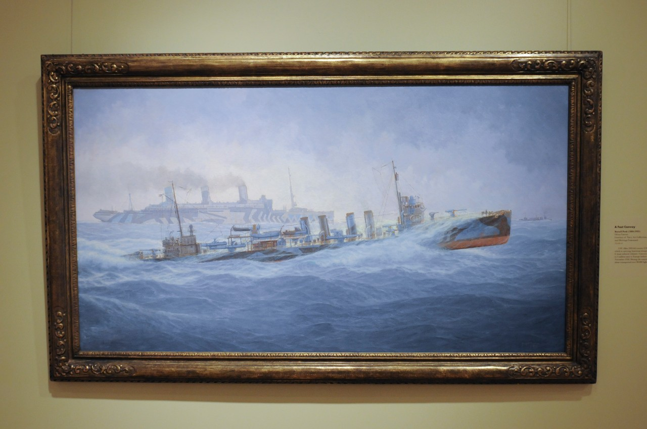 "Painting titled, ""A Fast Convy"" depicting U.S. Navy ships in rough sea."