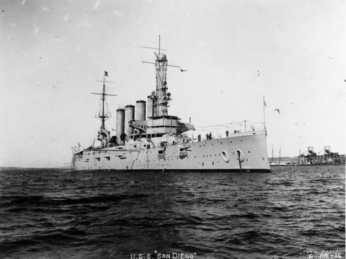 USS San Diego (Armored Cruiser No. 6) photographed Jan. 28, 1915