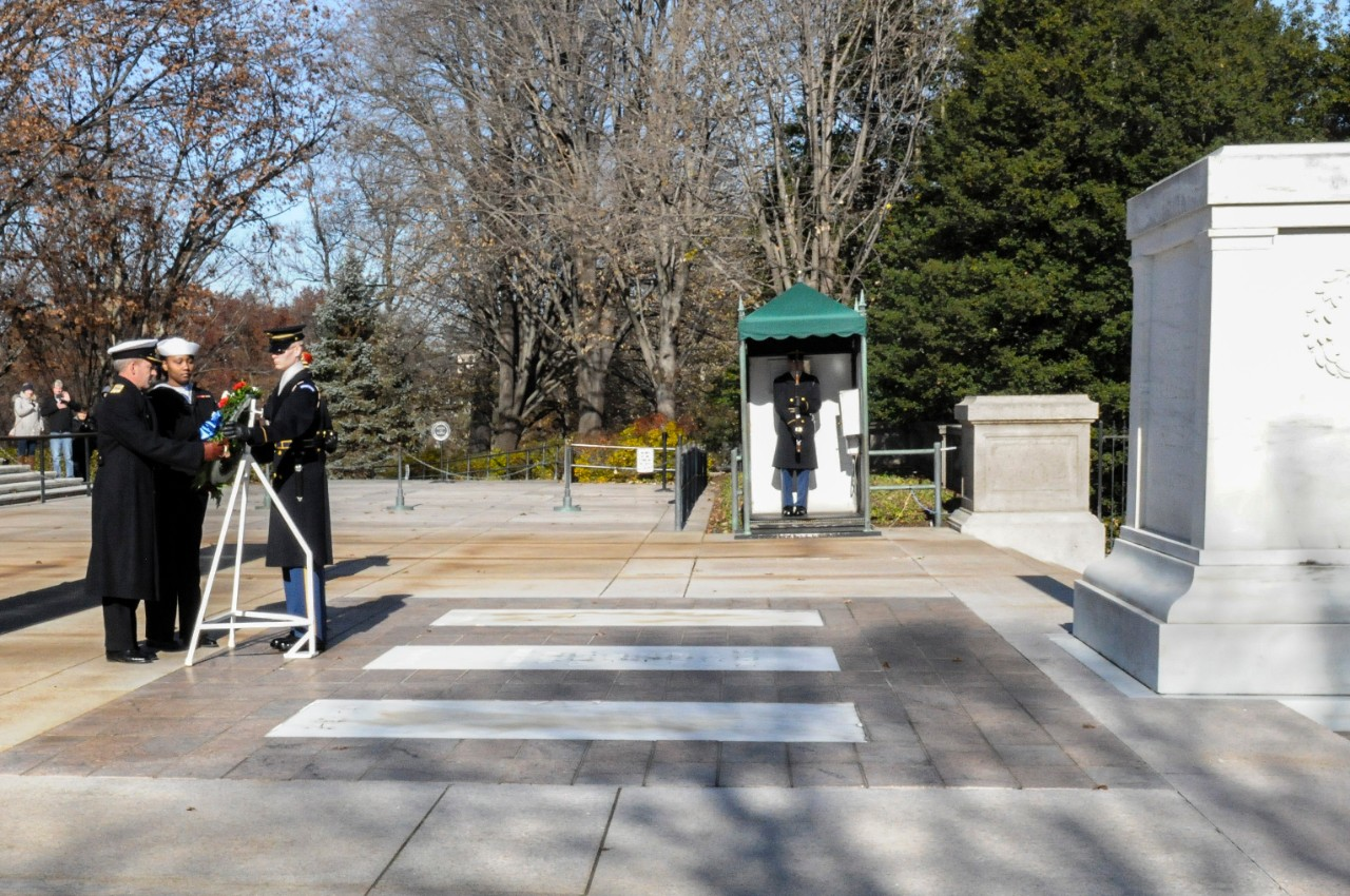 A member of the U.S. Army 3rd Infantry Honor Guard and a member of the Naval Order of the United States lay a wreath at the Tomb of the Unknown Soldier.