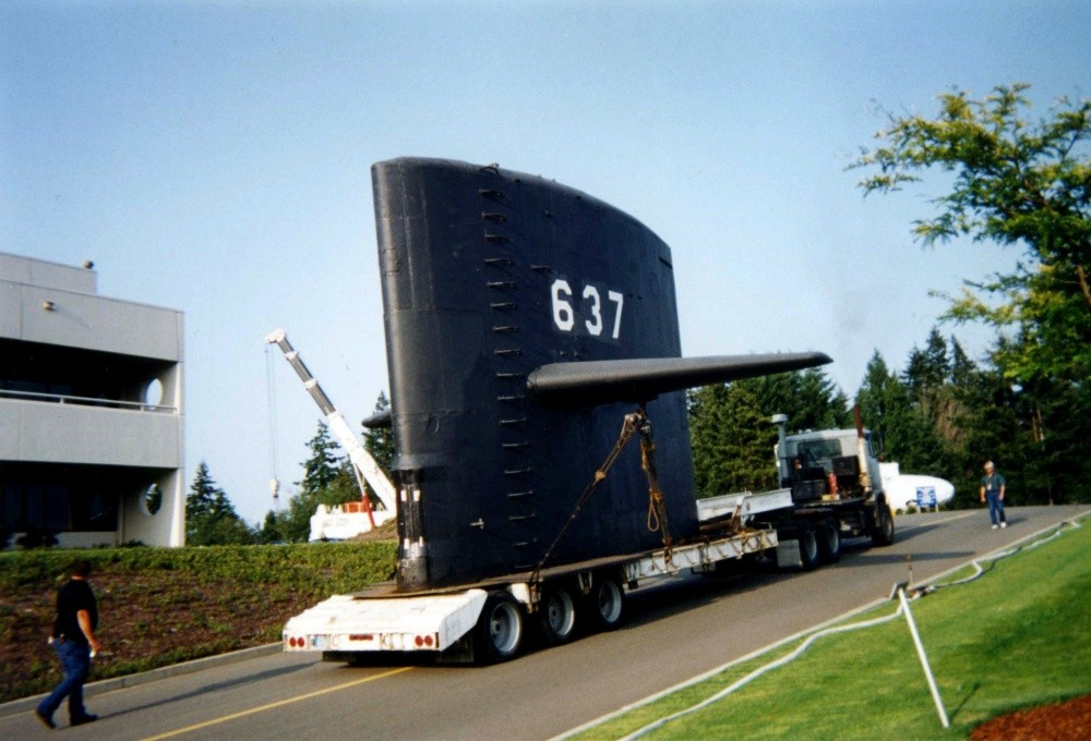 <p>KEYPORT, Wash. -- The sail from Cold War submarine USS Sturgeon (SSN 637) arrived at the U.S. Naval Undersea Museum in August 1995 for permanent display, after the submarine was recycled through the Puget Sound Naval Shipyard's submarine recycling program. USS Sturgeon was the lead ship in a class of 37 fast attack submarines that conducted missions during the Cold War.<i> U.S. Navy photo. (Released)</i></p>