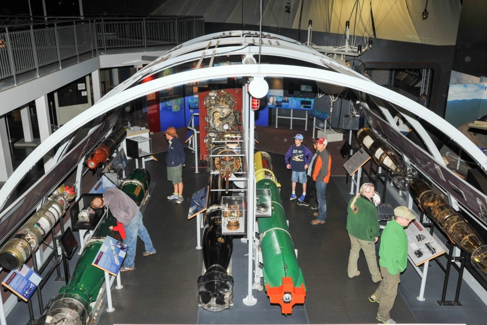 <p>KEYPORT, Wash. – Guests observe exhibits at the Naval Undersea Museum Keyport Oct. 10, 2015 during Deep Submergence Rescue Vehicle (DSRV) Day. DSRV Day represents the one-year anniversary of the DSRV arriving at the Naval Museum. <i>U.S. Navy photo by Mass Communication Specialist 3rd Class Charles D. Gaddis IV. (Released)</i></p>