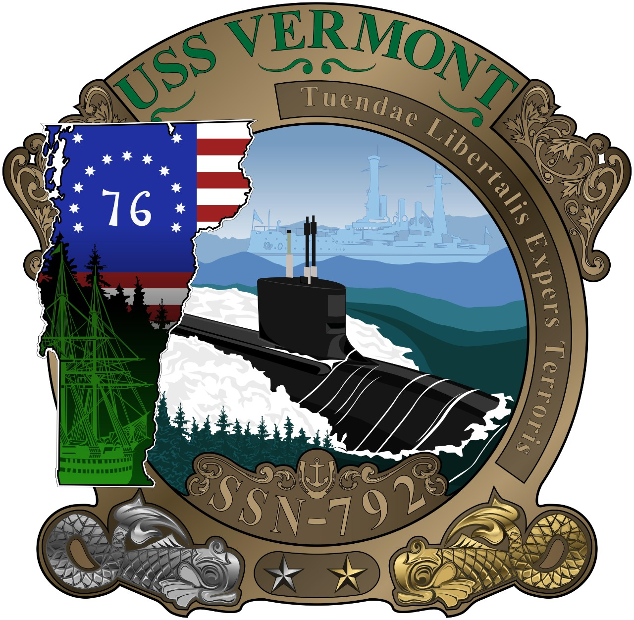 <p>WASHINGTON (April 18, 2020) The official crest of the Virginia-class attack submarine USS Vermont (SSN 792). Vermont is the third U.S. Navy vessel to bear the name of the Green Mountain State and the first of the 10 Virginia-class Block IV submarines. (U.S. Navy graphic/Released)</p>