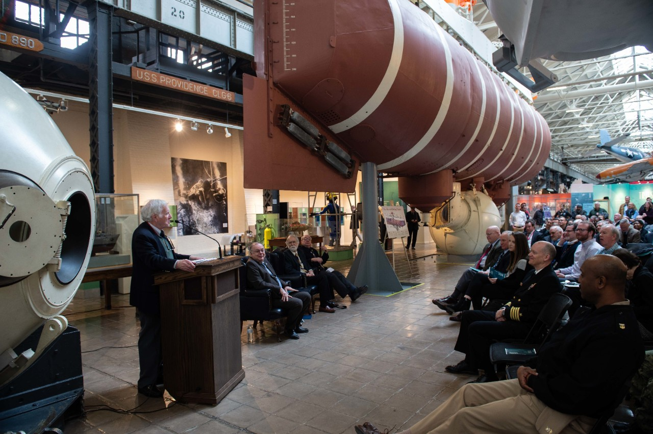 <p>Retired Capt. Don Walsh speaks at 60th commemoration of Trieste's dive to the Challenger Deep</p>