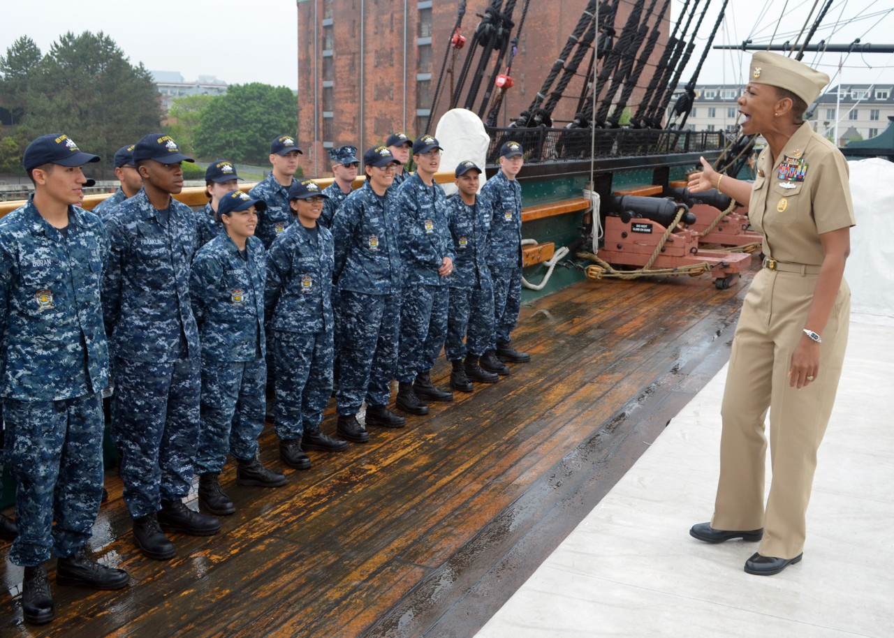 Fleet Master Chief April Beldo addresses USS Constitution crew members on the ship's spar deck during a visit to 'Old Ironsides'. (U.S. Navy photo by Sonar Technician (Submarine) 2nd Class Thomas Rooney/Released)