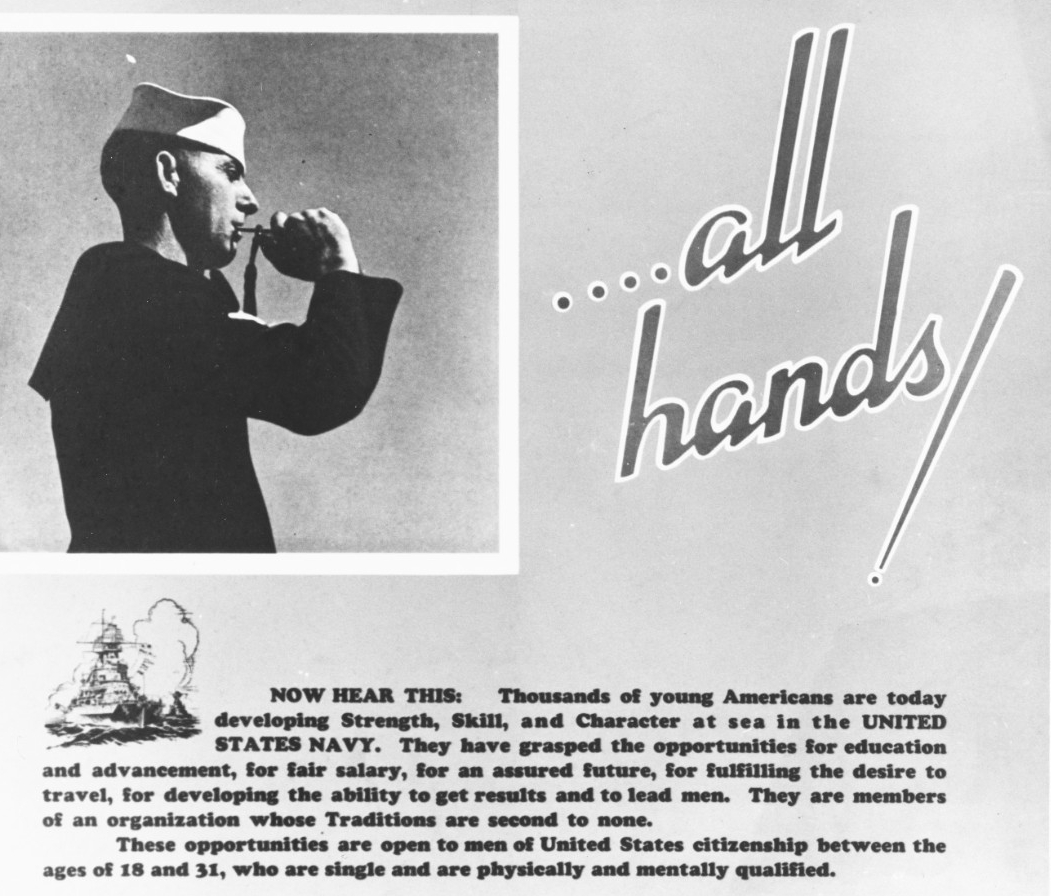 "Navy poster, ""…all hands!"""