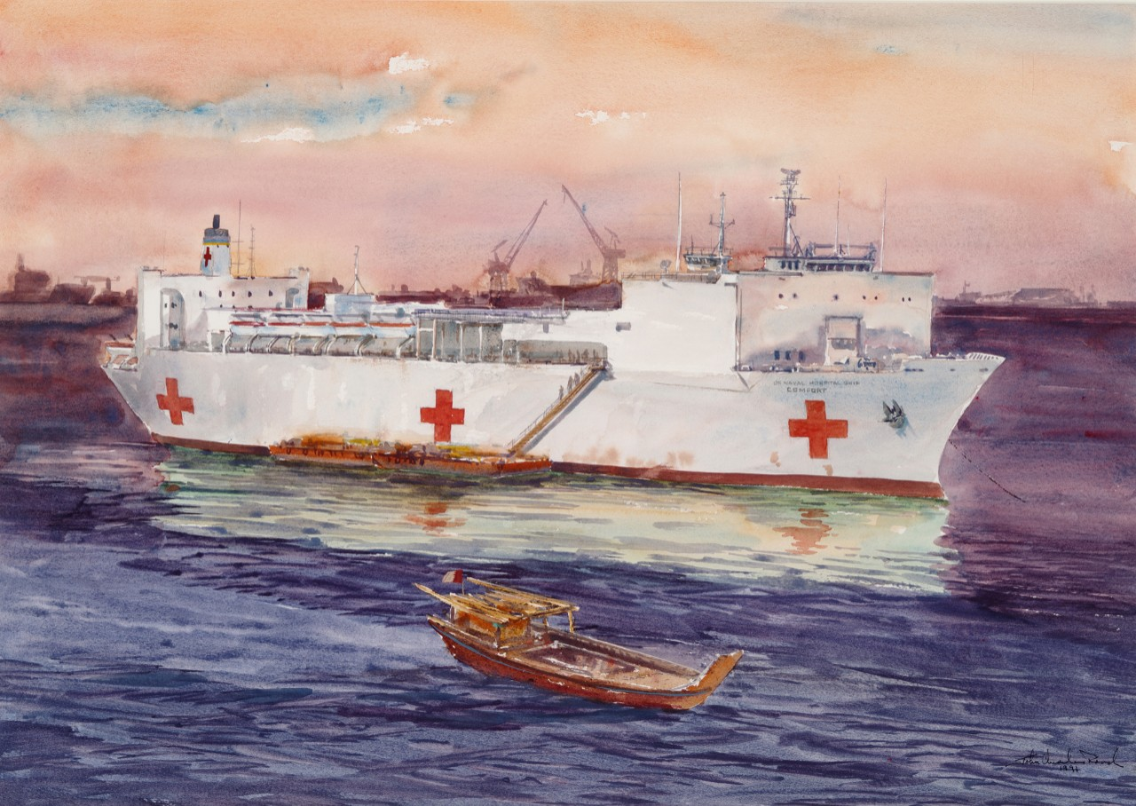 Hospital ship USS Comfort with a barge alongside, in the foreground is a small boat