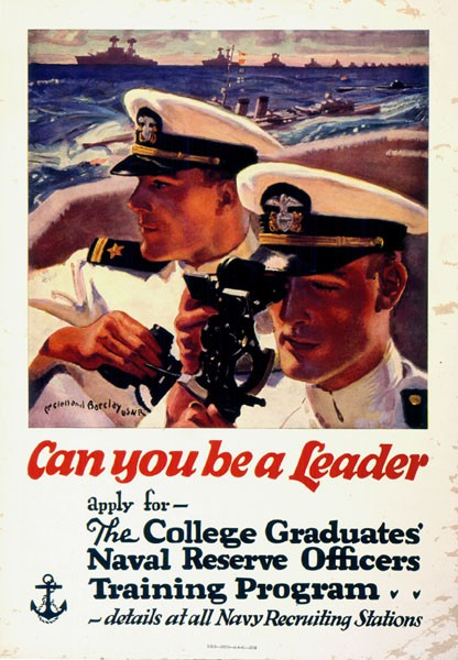 Poster with center image of two navy officers using a sexton