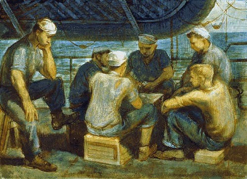 Sailors on the deck of a ship playing card games