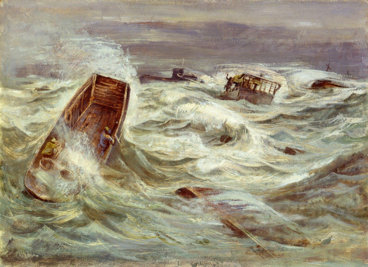 Landing craft in a storm