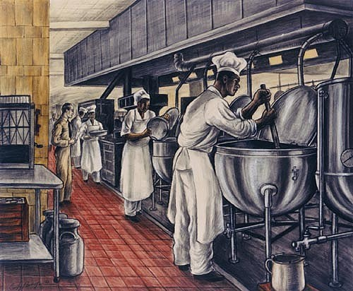 Navy cooks working in the hospital kitchen