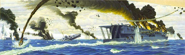 American planes attacking Japanese carriers