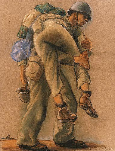 A corpsman carries a wounded soldier on his back