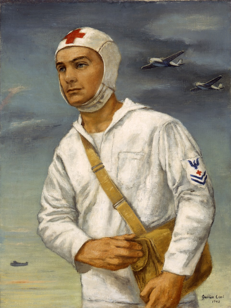 A portrait of a hospital corpsman on an aircraft carrier