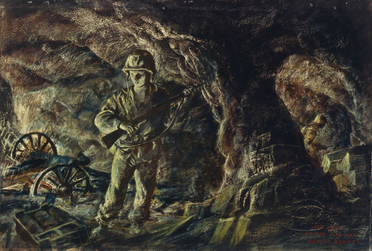 A marine standing in a cave