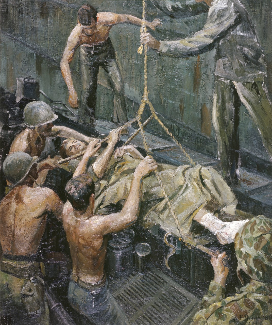 A wounded man being brought aboard a ship