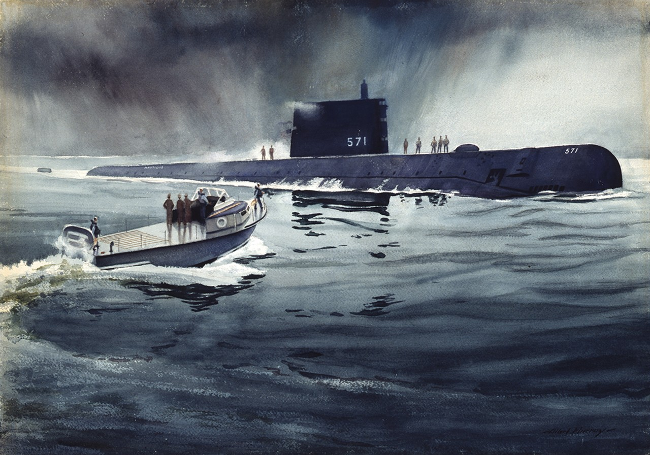 A group of men in boat approach a submarine