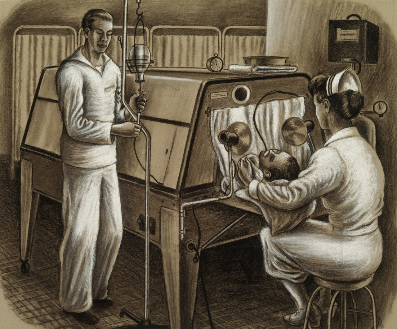 A man is inside a fever therapy cabinet except for his head. He is being monitored by a nurse and a corpsman