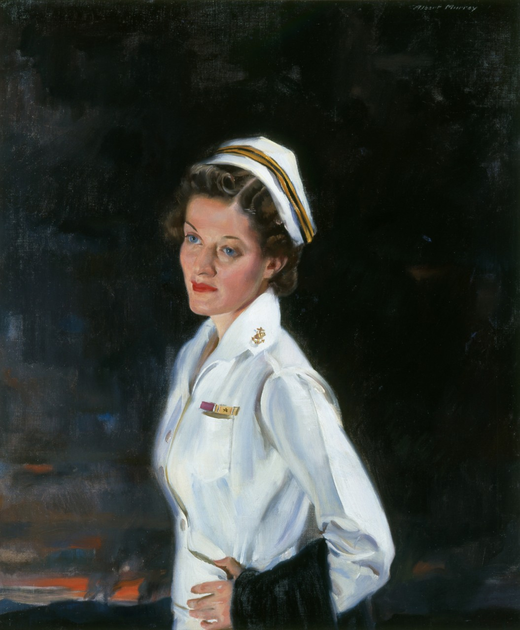 Ann Bernatitus in a white nurses uniform