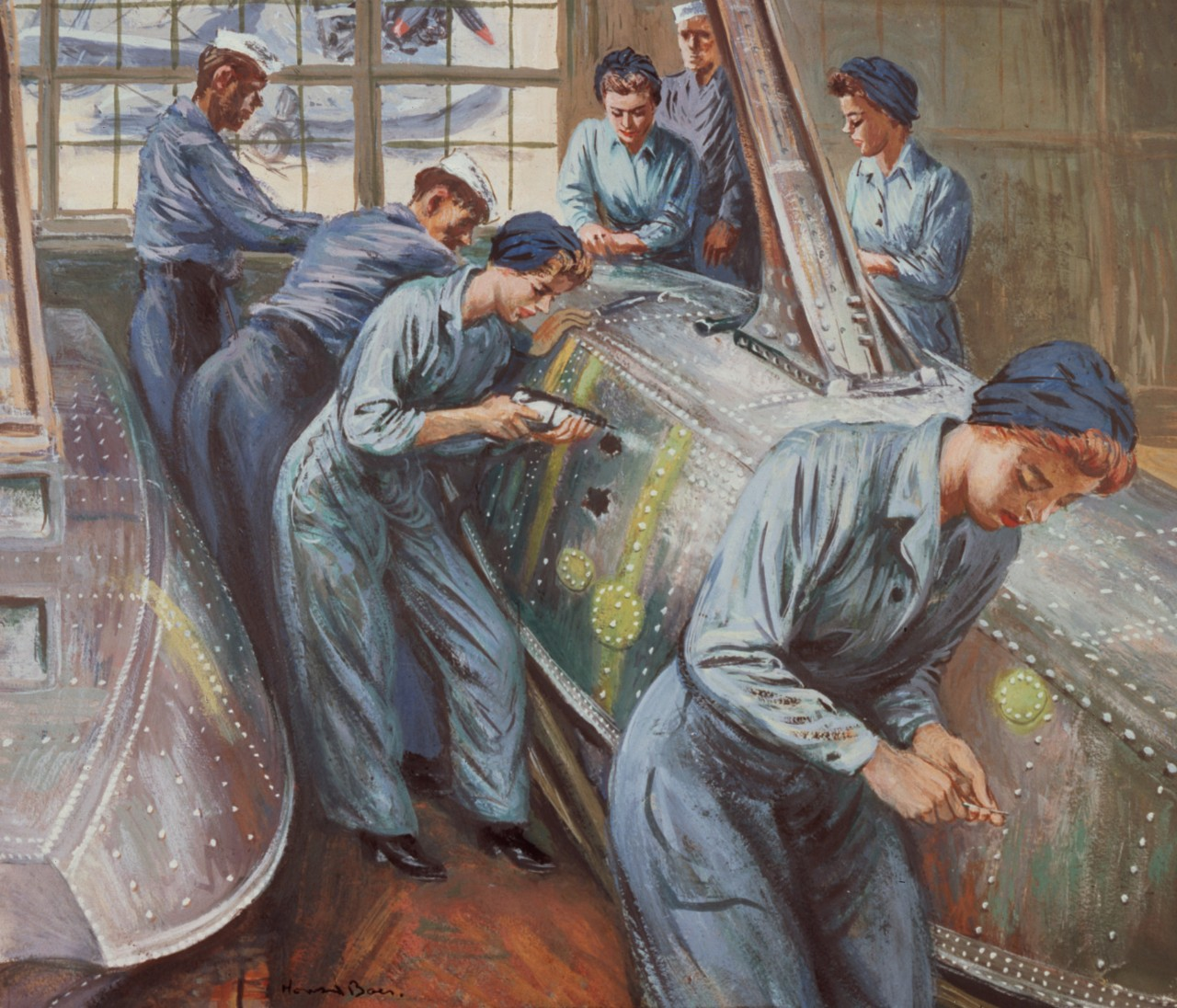 A group of WAVEs and sailors work on a plane